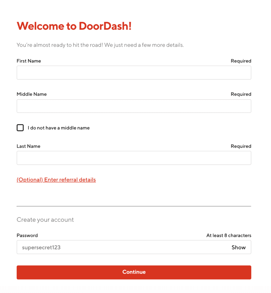 doordash driver sign up